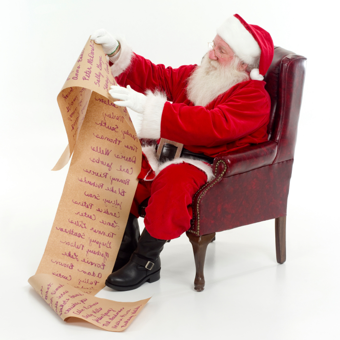 Santa proofreading his Christmas list